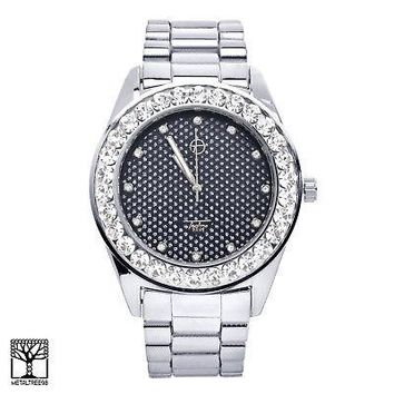 Jewelry Kay style Men's Fashion CZ Techno Pave Silver Plated Metal Band Iced Out Watch 8666 SBK
