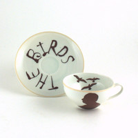 SALE Recycled Alfred Hitchcock Vintage Cup Tea or Coffee Porcelain The Birds White Brown Horror Movie Thriller Director