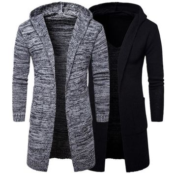 Mens Gray Black Hooded Cardigan