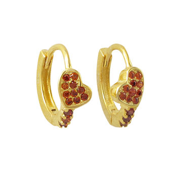 Gold Plated Sterling Silver, Garnet CZ Heart Huggie Earrings