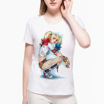 New Suicide Squad T Shirt Sexy Kawaii Harley Quinn Summer Novelty Joke Funny Women's Clothing Punk Printed Women's T-shirt L1E4