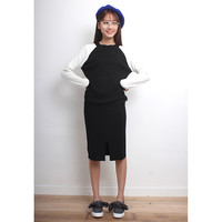 Colorblocking Knit Top + Skirt Co-Ords