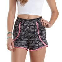 Printed Crochet Trim High-Waisted Shorts