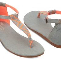 TOMS Shoes Neon Orange Denim Women's Ankle Strap Flat Playa Sandals,