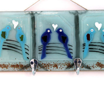 love birds wall  Hanging  panel  Fused glass art by virtulyglass