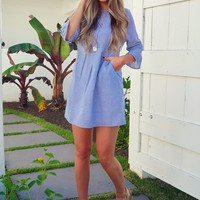 Preppy Girl Dress: Blue/White