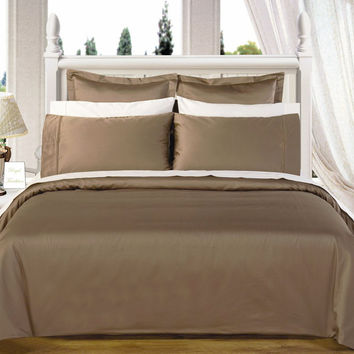 "Taupe 550TC Olympic Queen Solid Bed in A Bag 90x92"" Egyptian cotton With Down Alternative Comforter"