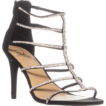 MG35 Raissa Strappy Bejeweled Dress Sandals, Black, 10 US