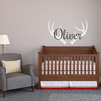 Antler Wall Decal Personalized Hunting Nursery Decor- Hunting Boys Name Wall Decal- Deer Antler Wall Decal Woodland Nursery Kids Room Decor