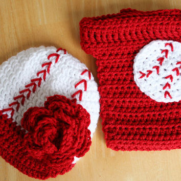 Toddler Baseball Set, baby girl baseball costume, crochet baby set, girl baseball hat and diaper cover, 12 to 24 month sizes available