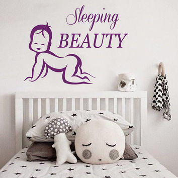 Sleeping Beauty Wall Decal Quote Princess Beauty Sleep Nursery Vinyl Sticker Art Childrens Bedroom Interior Design Kids Nursery Decor KI146