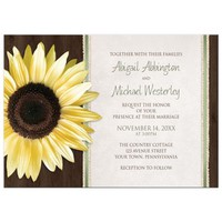 Wedding Invitations - Country Sunflower Wood Brown Green