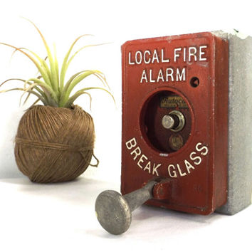 vintage 60s local fire alarm box industrial station fireman break glass decorative home decor steampunk urban modern wall hanging authentic