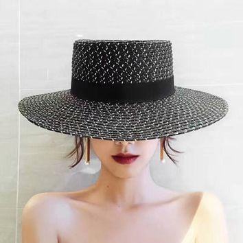 Summer Beach Straw Hat for Women Bow Boho chapeu feminino Weekend Picnic Hat for Women Deep Color Fashion Hat for Women 2017 New