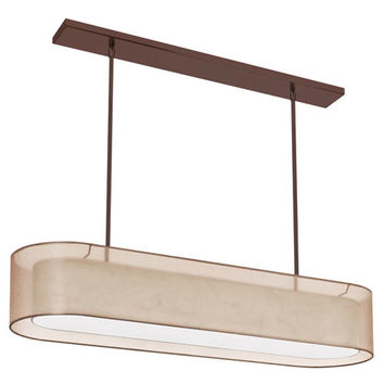 Dainolite MEL448-811-720-OBB Melissa Four-Light Oil Brushed Bronze Oval Pendant w/ a Gold and Cream Double Shade and a Diffuser