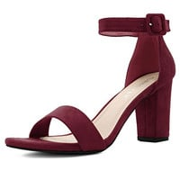 Allegra K Women's Open Toe Chunky High Heel Ankle Strap Sandals rose red heels with ankle strap