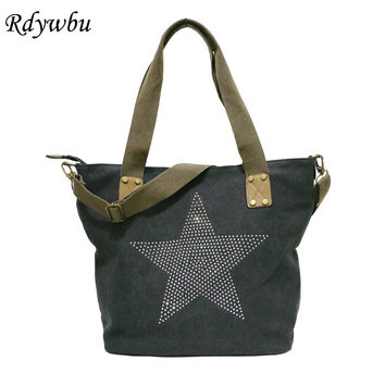 Rdywbu BIG STAR STUDDED GLITTER CANVAS HANDBAG - Multifunctional Sequined Travel Tote Shoulder Bag Diamonds Vintage Bolsos B157