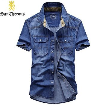 2019 New Casual 100% Cotton Men Denim Shirts Summer Outerwear Breathable Short Sleeve Jean Shirts 2colors M-3XL