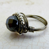 Hematite and Toho Wire Wrapped Ring - Gunmetal & Gemstones Collection