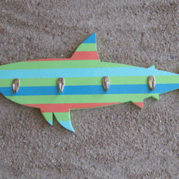 Handcrafted Striped Shark Coat Rack Beach Decor Nursery Bathroom Beach Themed Decor Nautical Ocean Coastal Theme Decor