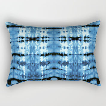 Indigo Satin Shibori Rectangular Pillow by ninamay