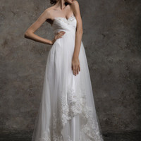 Strapless A line Asymmetric Skirt With Lace Trim Bridal Wedding Dress