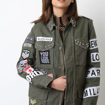 Assorted Patch Studded Military Jacket