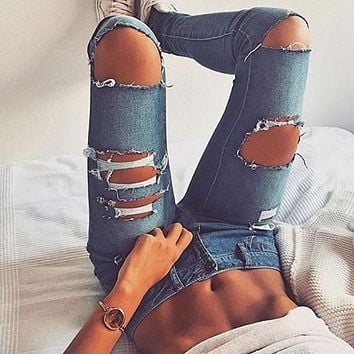 Fashion Ripped Irregular Tight Pants Trousers Jeans