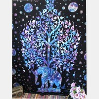 Cilected Indian Blue Elephant Tapestry Throw Hippie Tapestry Wall Hanging Tree Printed Decorative Wall Tapestries 203X153Cm