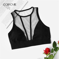 COLROVIE Ladies Sheer Mesh Panel Fitness Bralet 2018 New Arrival Top Black Plain Woman Clothing Sexy Crop Vest