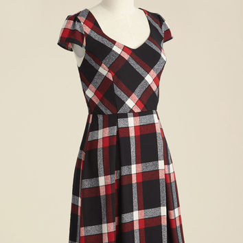 Playful of Wonder A-Line Dress in Black Plaid | Mod Retro Vintage Dresses | ModCloth.com