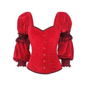 Gothic Bustier Corset Vintage Women Belts Red Slim Casual Lace-Up Cosplay Punk Goth Corset