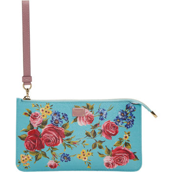 Blue Small Rose Zip Pouch