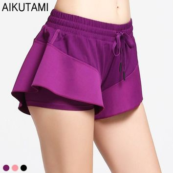 Sexy Sport Womens Tennis Skorts Double Layer Compression Lining Lotus Leaf Skirt Quick Dry Gym Fitness Running Skort Sport