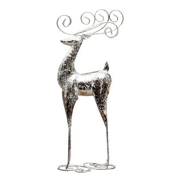 1PC Decoration Unique Standing Deer Creative Silver Iron Ornaments for Shop Christmas Window Home