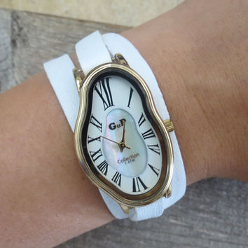Salvador Dali Watch - Women's Watches - Leather Watch - Wrist Watch - Watches For Women - Dali Wrist Watch - White Watch - Warp Watch