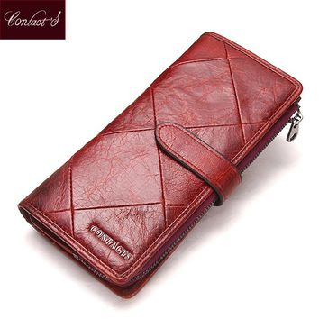 2017 Genuine Cowhide Leather Women Wallet Phone Pocket Purse Wallet Female Card Holder Lady Clutch Patchwork Carteira Feminina