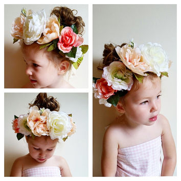 Blush, Cream, Coral Flower Crown * Made to Order Flower Girl Headband * Bridal, Bridesmaid
