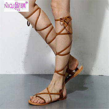 Brand Rome Genuine Leather Summer Knee High Boots Flat Women Gladiator Summer Sandals Shoes Big Size 34-42 Hot Sale 2017