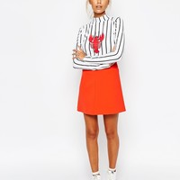 Lazy Oaf High Neck Stripe Long Sleeve Top With Lobster Print at asos.com
