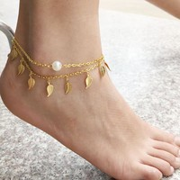Gift Shiny Ladies Sexy Cute New Arrival Jewelry Fashion Accessory Summer Stylish Strong Character Tassels Leaf Pearls Anklet [6768761735]
