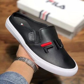 FILA Fashion Women Men Leisure Letter Embroidery Loafers Half Slipper Sandal Shoes Black I-CSXY