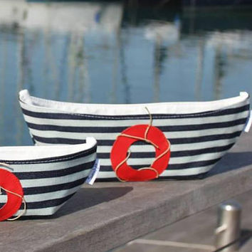 Buy 2 get 1 free! Fabric storage basket Boat basket set Nautical theme Nursery organizer Home organizer Storage basket Home decor basket