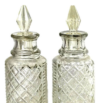 Vintage Cruet Set with 4 Cut Crystal Glass Bottles |  Made in England by Eales of Sheffield |  Silver Plated Holder