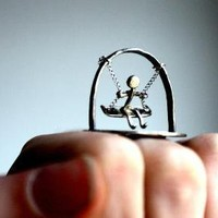 Swinging Man Ring Wearable Sculpture by luckyduct on Etsy