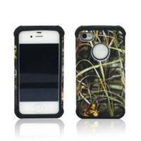 ANTI-SHOCK HYBRID 2 IN 1 DRY GRASS CAMO HUNTER IPHONE 4 4S COVER CASE BLACK THICK SILICONE INSIDE AND HARD PLASTIC RUBBERIZED COVER OUTSIDE