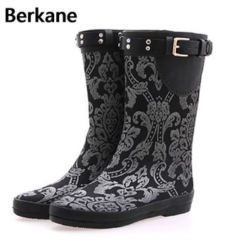 Sliver Floral Prinit Waterproof Rain Boots Women Ruber Anti-slip Flower Mid-calf Quality Water Shoes Female Rainboots Flat Botas