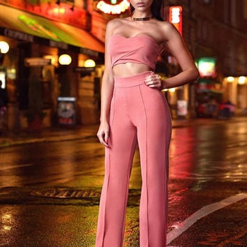 Linnea Salmon Pink Two Piece Stretch Crepe Pantsuit