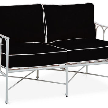 Celia Loveseat, Black/White | One Kings Lane
