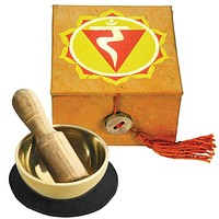 "Tibetan Mini Meditation Bowl and Box: 2"" Solar Plexus Chakra"